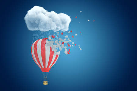 3d rendering of striped hot-air balloon that has started to break into pieces under raining cloud on blue copyspace background.