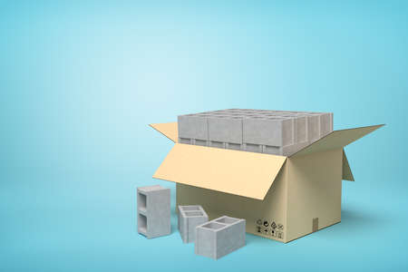 3d rendering of cardboard box full of gray hollow bricks on blue background.