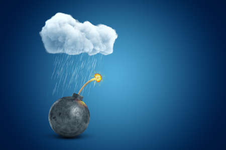 3d rendering of black ball bomb under raining cloud on blue gradient background with copy space.