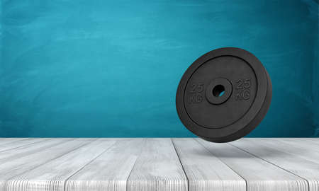 3d rendering of 25 kg weight plate on white wooden floor and dark turquoise background