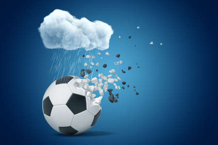 3d rendering of white rainy cloud above football ball shattering into small pieces on blue background