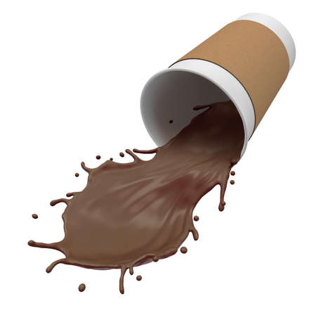 Rendu en gros plan 3D d'une tasse de papier renversée avec du chocolat chaud débordant isolé sur fond blanc. Banque d'images