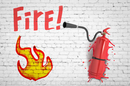 3d rendering of white brick wall with title Fire and drawing of small flame, with red extinguisher smashed into wall.