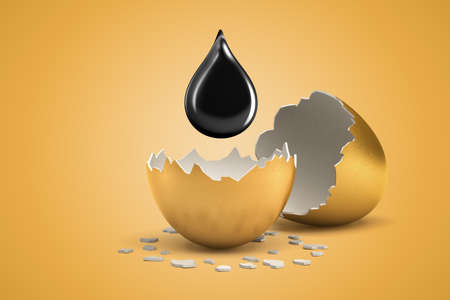 3d rendering of black drop suspended in air above two parts of broken gold eggshell. Stok Fotoğraf