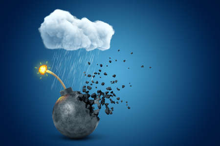 3d rendering of black ball bomb with burning fuse, disintegrating into pieces under raining cloud on blue background.