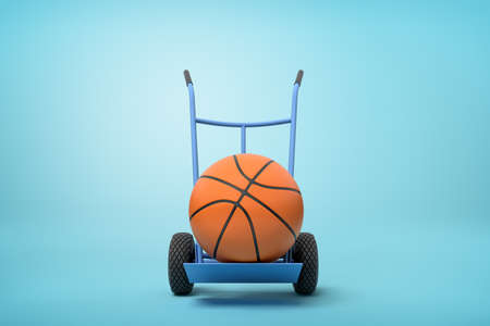 3d rendering of orange basketball ball on a hand truck on blue background Stockfoto