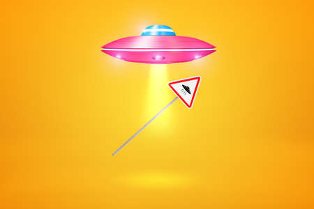 3d rendering of pink UFO flying against amber background and using gravitation powers to lift UFO road sign toward its hatch. Фото со стока