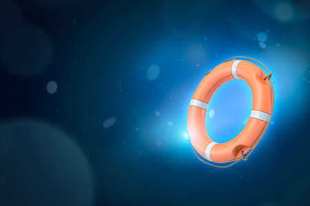 3d rendering of orange life buoy on blue gradient bokeh background with copy space.