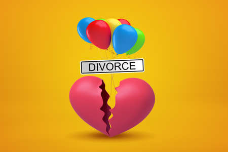 3d rendering of broken heart with colorful balloons and Divorce sign on yellow background