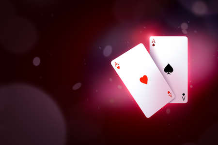 3d close-up rendering of ace of hearts and ace of spades on gradient cherry-purple bokeh background with copy space.