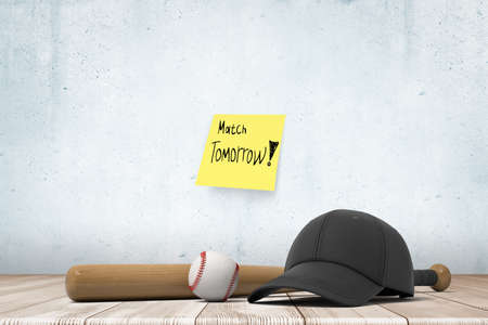 3d rendering of baseball bat, ball and black cap, lying on wooden floor near wall with yellow sticky note that reads Match tomorrow