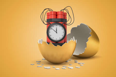 3d rendering of red dynamite stick time bomb hatching out of golden egg on yellow background Imagens