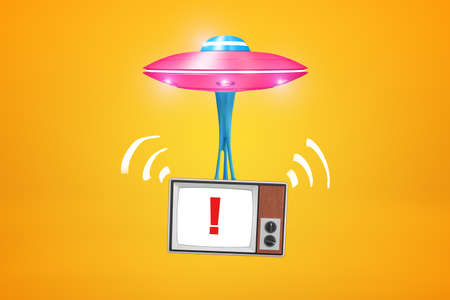 3d rendering of pink UFO with retro TV set with exclamation mark on screen hanging below it on amber background.