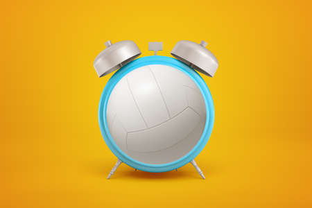 3d rendering of volleyball ball shaped as alarm clock on yellow background
