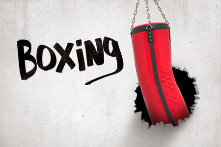 3d rendering of red punching bag breaking white wall with Boxing sign on white background