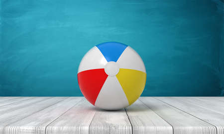 3d rendering of striped beach ball on wooden surface near blue wall.
