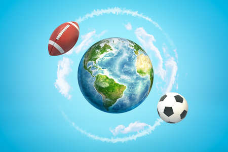 3d rendering of brown american football ball and soccer ball flying around earth globe on blue background Stock Photo