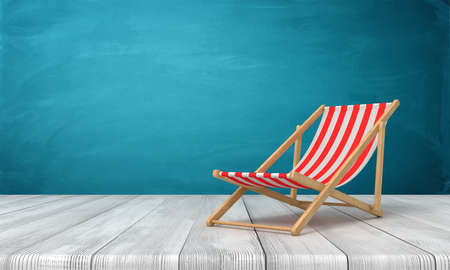 3d rendering of beach chair on white wooden floor and dark turquoise background Stockfoto