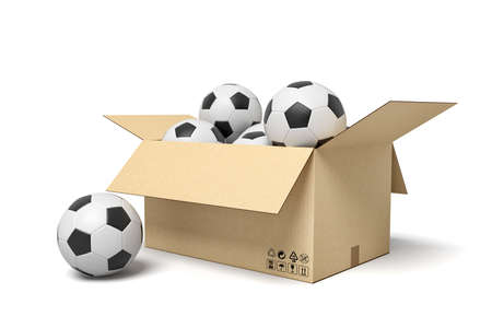 3d rendering of cardboard box full of footballs and one football beside.