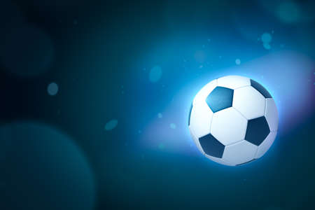 3d rendering of a football on gradient blue bokeh background with copy space. Stock Photo