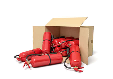 3d rendering of cardboard box lying sidelong full of red fire extinguishers. Stockfoto