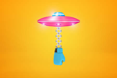 3d rendering of pink UFO with blue boxing glove hanging below it on amber background. Фото со стока