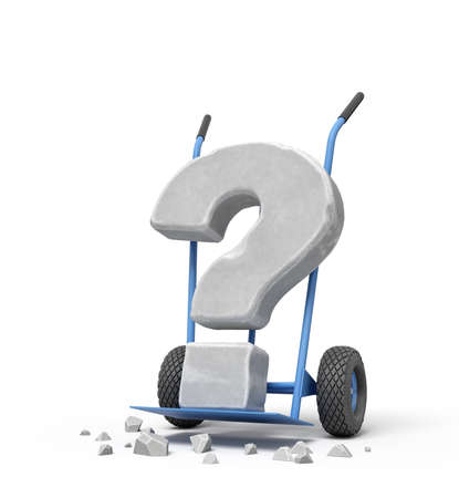 3d rendering of large stone question mark on blue hand truck with big stone crumbs on ground.