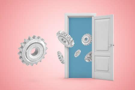 3d rendering of set of big metal gear wheels flying out from open door on pink gradient copyspace background.