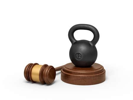 3d rendering of black kettlebell standing on sounding block with judge gavel lying beside. Reklamní fotografie
