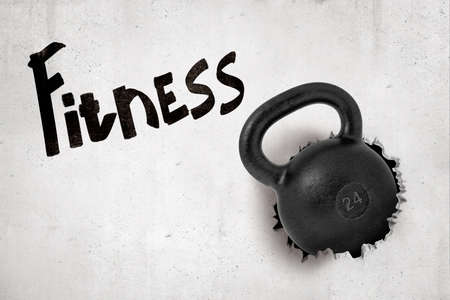 3d rendering of black kettlebell breaking white wall with Fitness sign on white background