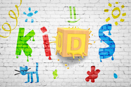 3d rendering of white brick wall with small colorful pictures and big title KIDS with big ABC block smashed into wall right for letter D. 写真素材