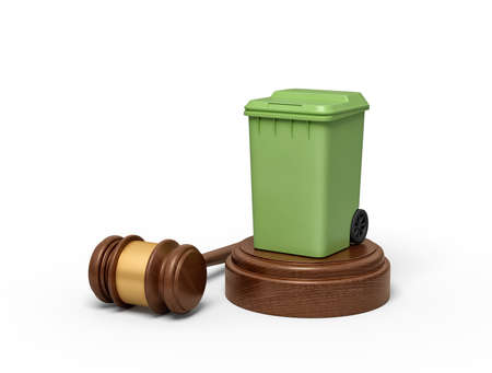 3d rendering of green trash bin on round wooden block and brown wooden gavel
