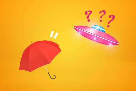 3d rendering of pink UFO with red question marks and red umbrella on yellow background