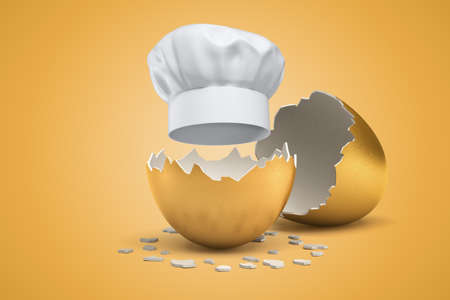 3d rendering of white chef hat hatching out of golden egg on yellow background Stockfoto