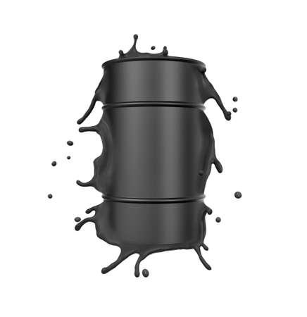 3d rendering of black metal barrel splashing isolated on white background Stok Fotoğraf