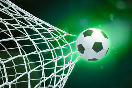 3d rendering of soccer ball tearing through net on green gradient bokeh background.