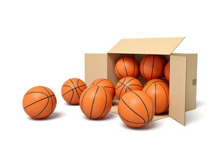 3d rendering of cardboard box lying sidelong full of basketballs.