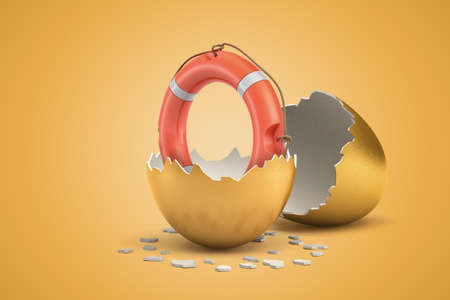 3d rendering of orange life buoy that just hatched out from golden egg.