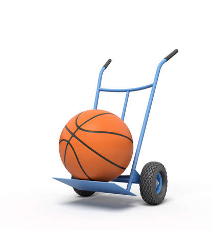 3d rendering of orange basketball ball on a hand truck