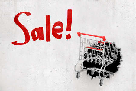3d rendering of shopping cart breaking white wall with Sale sign on white background