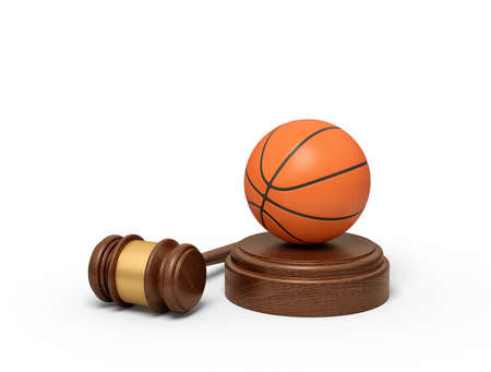 3d rendering of basketball on sounding block with judge gavel lying beside.