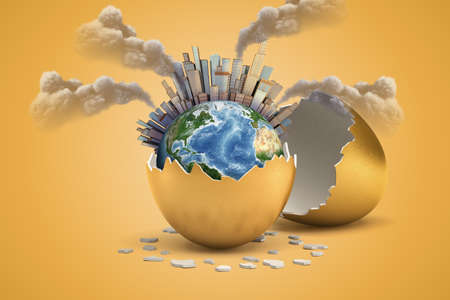 3d rendering of earth globe covered with city skyscrapers and factory smoke pipes hatching out of golden egg on yellow background