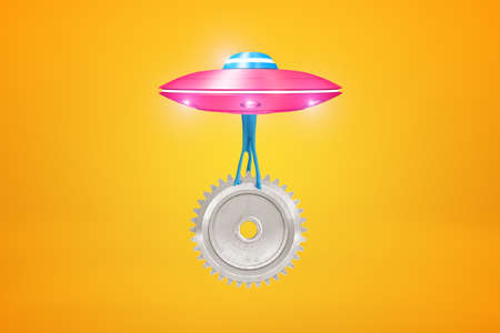 3d rendering of pink metal UFO carrying big silver gear wheel on yellow background