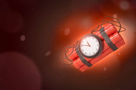 3d rendering of dynamite bundle with time bomb on red gradient bokeh background with copy space. Reklamní fotografie