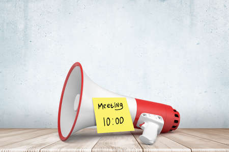 3d rendering of a red and white megaphone on white wooden floor with yellow Meeting 10 am note on white background