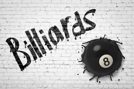 3d rendering of white brick wall with title Billiards, and black billiards ball with number 8 smashed into wall.