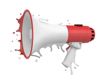 3d rendering of a red and white megaphone melting on white background Stok Fotoğraf