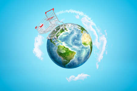 3d rendering of Earth with huge supermarket trolley standing on one side of planet. Banco de Imagens