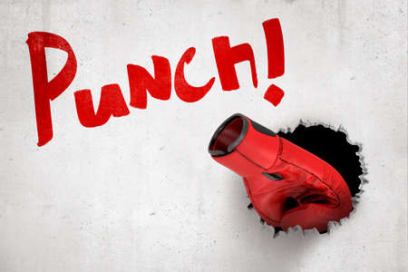 3d rendering of red boxing glove breaking white wall with red Punch sign on white background.