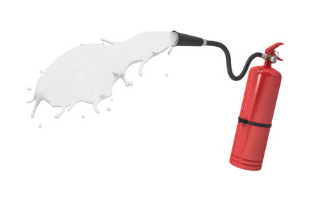 3d rendering of red fire extinguisher discharging jet of white liquid isolated on white background. Zdjęcie Seryjne